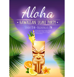 Hawaiian luau party poster vector