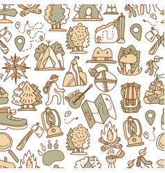 hiking and trekking travel seamless pattern vector image