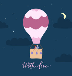 hot air balloon with couple at night vector image