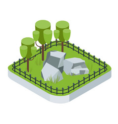 isometric garden with tree vector image