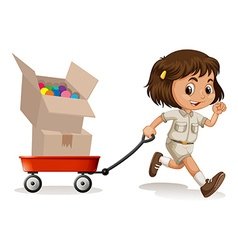 Little girl pulling cart with two boxes vector