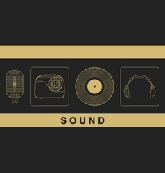 Microphone radio vinyl disc headphones vector image