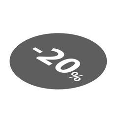 Minus 20 percent sale black icon isometric style vector