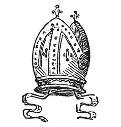 Mitre is a sacerdotal ornament for the head vector