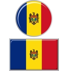 Moldovan round and square icon flag vector image