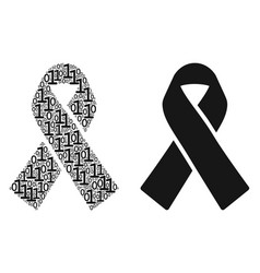 Mourning ribbon mosaic of binary digits vector