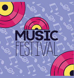 music festival notes background vector image