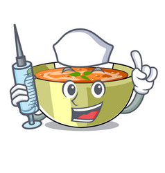 Nurse cartoon lentil soup ready to served vector
