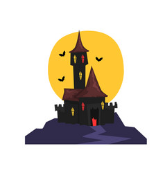 Old halloween castle with bats and full moon vector
