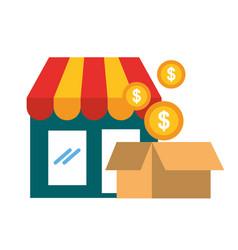 online shopping market cardboard box coins vector image