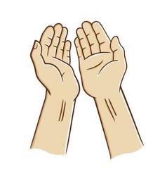 Open hands praying vector