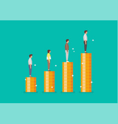 peoples standing on stacks coins as graph up vector image