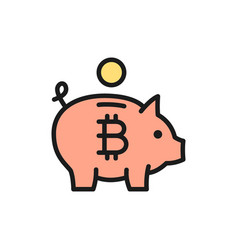 piggy bank with bitcoin cryptocurrency crypto vector image