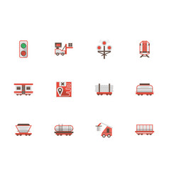 rail freight transportation flat icons vector image