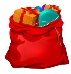 red open santa bag with gifts christmas accessory vector image