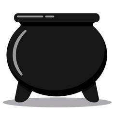 Retro black cast-iron empty cooking pot vector