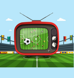 Retro television with soccer match on football vector