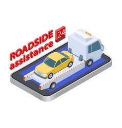 road assistance concept isometric tow truck vector image