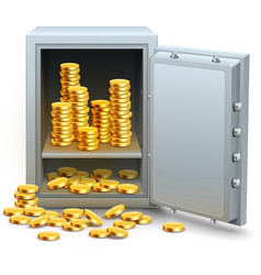 Safe full of gold coins money vector image
