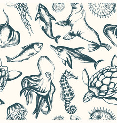 Sea creatures - hand drawn seamless pattern vector