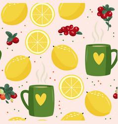 Seamless pattern with mug lemon vector
