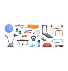 Set colored various gym equipment vector