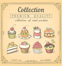 Set hand-drawn icons pastries collection vector