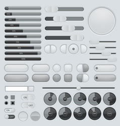 Set of interface buttons grey collection slider vector