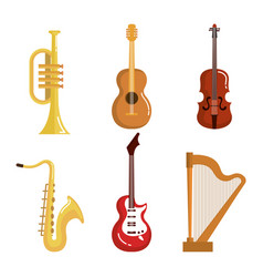 Set of musical instruments event symbols vector