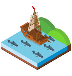 ship and sharks swimming in ocean vector image