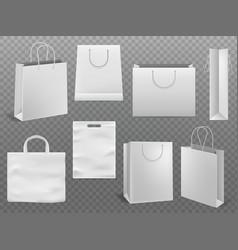 Shopping bag mockups empty handbag white paper vector