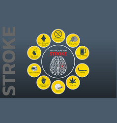 stroke risk factors icon design infographic vector image