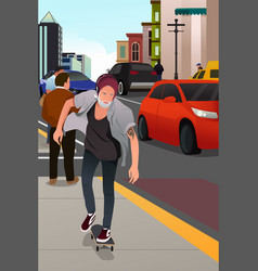 Stylish old man skateboarding on the road vector
