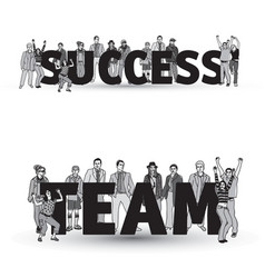 Success team group business people isolate black vector