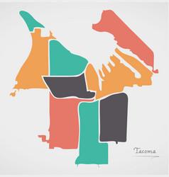 Tacoma washington map with neighborhoods and vector
