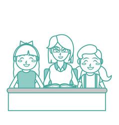 Teacher and girl design vector