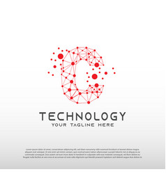 Technology logo with initial c letter network vector