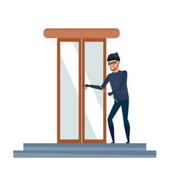 Thief burglar in mask commits crime vector