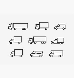 transport icon set transportation in linear style vector image