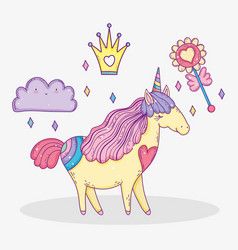 unicorn animal with crown and cloud with flower vector image