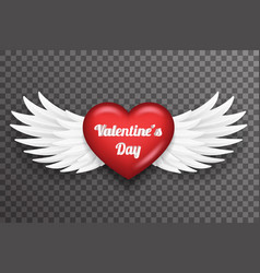 Valentine day heart white bird angel fly wings 3d vector
