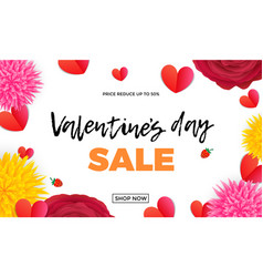 valentines day sale design template red paper vector image
