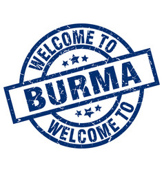 Welcome to burma blue stamp vector