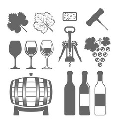 wine set of monochrome design elements vector image