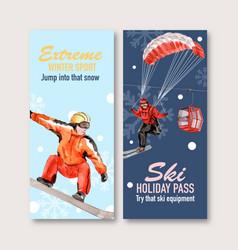 Winter sport flyer design with ropeway watercolor vector