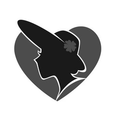 woman in hat silhouette against grey heart vector image