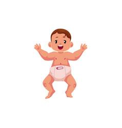 flat newborn cute baby boy in diaper vector image