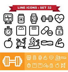 Line icons set 32 vector image vector image