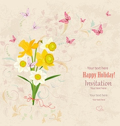 lovely bouquet of white and yellow daffodils with vector image
