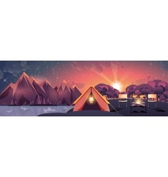 night landscape mountains sunset vector image